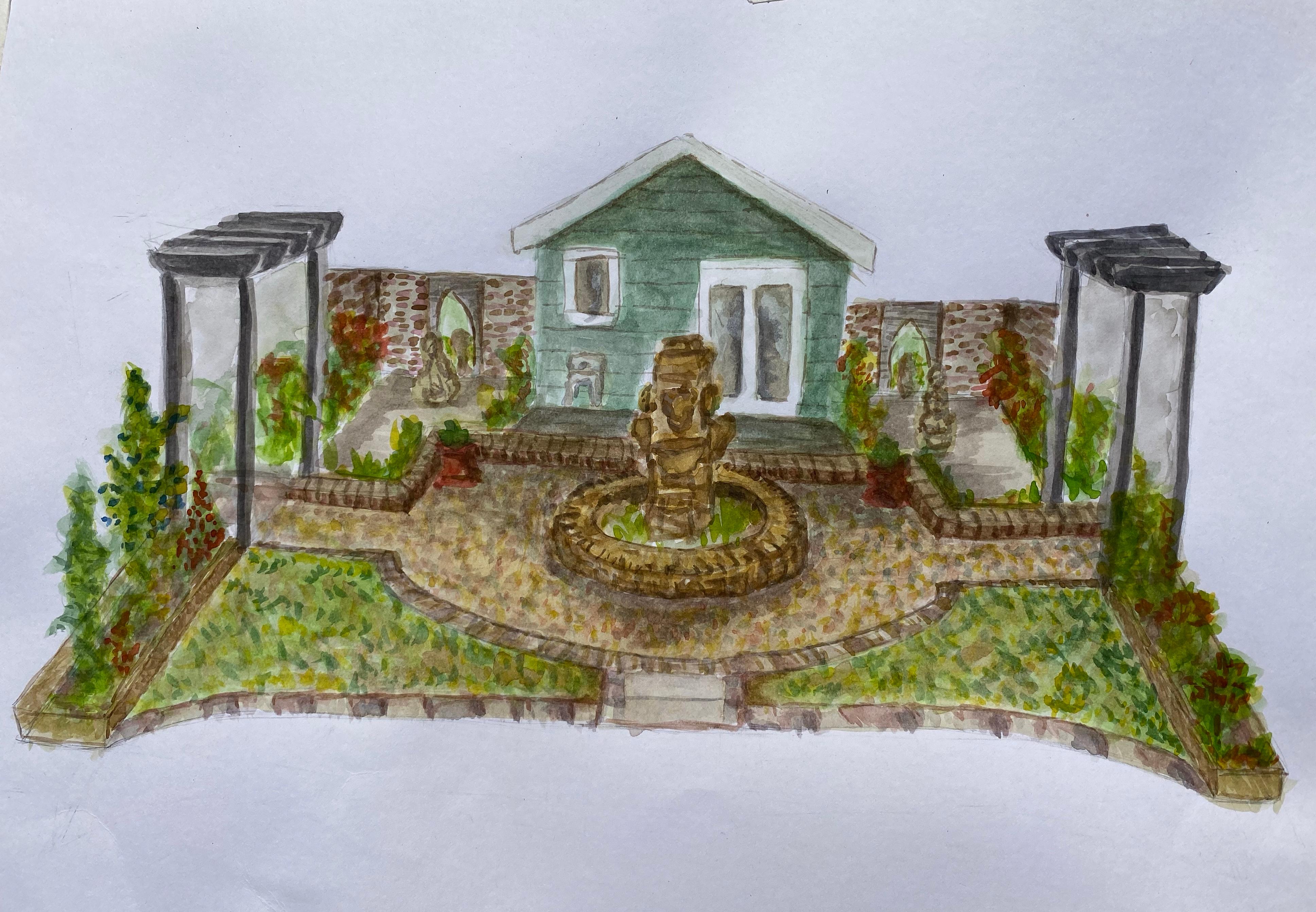 watercolour and pen garden in Suffolk - watercolour before