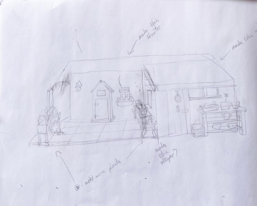 Watercolour and pen suffolk garden - pencil sketch first draft