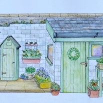 Watercolour and pen outhouse and garden